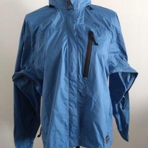 REI Womens Large Shell Wind Rain Coat Jacket Blue